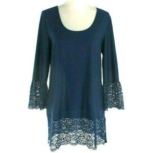 Slinky Brand Tunic Top With Lace Trim Size M